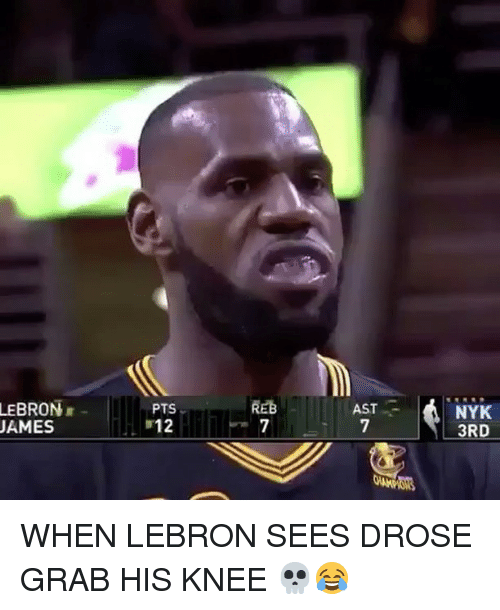 Basketball, Sports, and Lebron: LEBRON  AMES  REB  PTS  12  AST  NYK  3RD WHEN LEBRON SEES DROSE GRAB HIS KNEE 💀😂