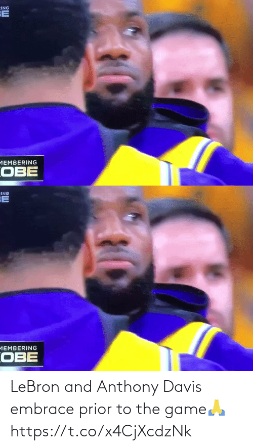 Anthony: LeBron and Anthony Davis embrace prior to the game🙏 https://t.co/x4CjXcdzNk
