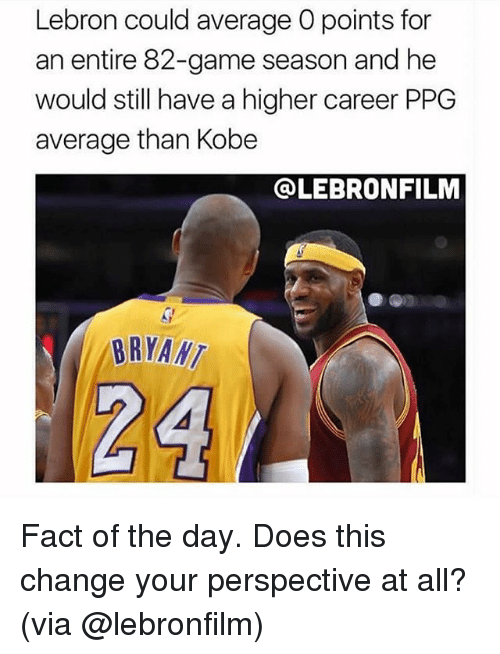 Memes, Game, and Kobe: Lebron could average O points for  an entire 82-game season and he  would still have a higher career PPG  average than Kobe  @LEBRONFILM  BRYANT Fact of the day. Does this change your perspective at all? (via @lebronfilm)