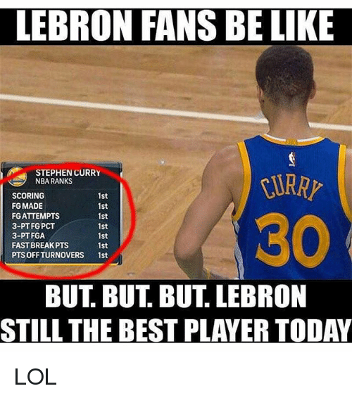 Be Like, Lol, and Nba: LEBRON FANS BE LIKE  STEPHEN CURRY  NBA RANKS  SCORING  1st  FG MADE  1st  FG ATTEMPTS  1st  3-PT FG PCT  1st  3-PT FGA  1st  FAST BREAK PTS  1st  PTSOFF TURNOVERS  1st  BUT BUT BUT LEBRON  STILL THE BEST PLAYER TODAY LOL