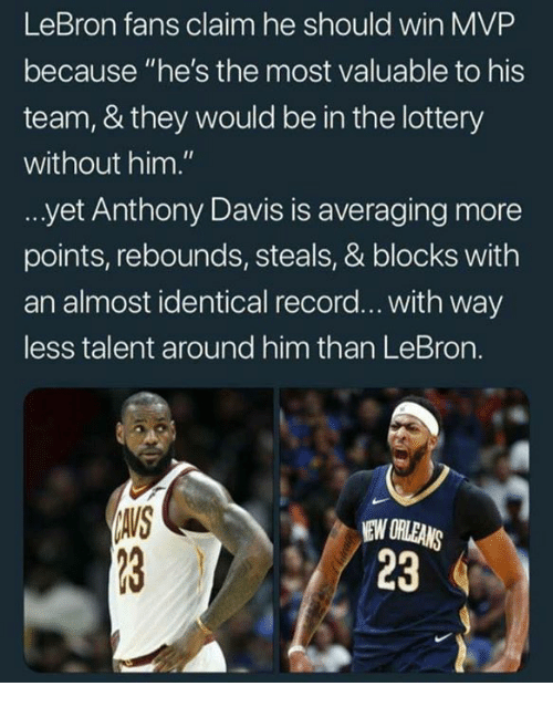 "Lottery, Anthony Davis, and Lebron: LeBron fans claim he should win MVP  because ""he's the most valuable to his  team, & they would be in the lottery  without him.""  yet Anthony Davis is averaging more  points, rebounds, steals, & blocks with  an almost identical record... with way  ess talent around him than LeBron.  AVS  NEW ORLEANS  23"