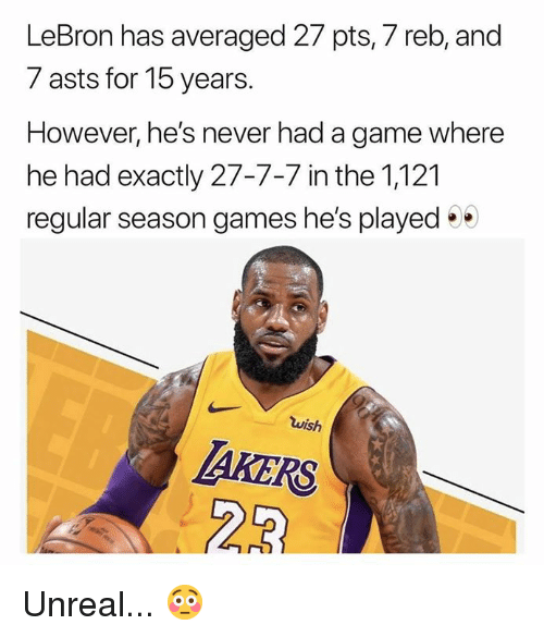 Nba, Game, and Games: LeBron has averaged 27 pts, 7 reb, and  7 asts for 15 years.  However, he's never had a game where  he had exactly 27-7-7 in the 1,121  regular season games he's played  wish  AKERS Unreal... 😳
