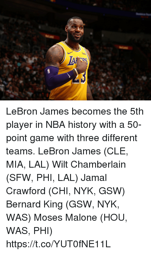 Bernard: LeBron James becomes the 5th player in NBA history with a 50-point game with three different teams.  LeBron James (CLE, MIA, LAL) Wilt Chamberlain (SFW, PHI, LAL) Jamal Crawford (CHI, NYK, GSW) Bernard King (GSW, NYK, WAS) Moses Malone (HOU, WAS, PHI) https://t.co/YUT0fNE11L