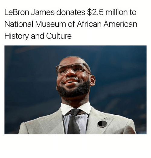 LeBron James, Memes, and American: LeBron James donates $2.5 million to  National Museum of African American  History and Culture