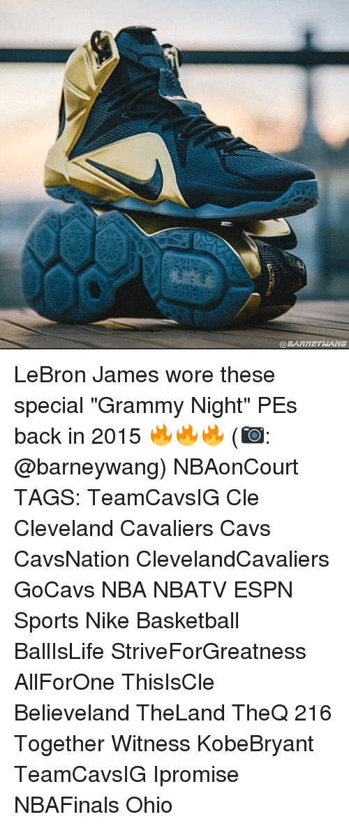 """Basketball, Cavs, and Cleveland Cavaliers: LeBron James wore these special """"Grammy Night"""" PEs back in 2015 🔥🔥🔥 (📷: @barneywang) NBAonCourt TAGS: TeamCavsIG Cle Cleveland Cavaliers Cavs CavsNation ClevelandCavaliers GoCavs NBA NBATV ESPN Sports Nike Basketball BallIsLife StriveForGreatness AllForOne ThisIsCle Believeland TheLand TheQ 216 Together Witness KobeBryant TeamCavsIG Ipromise NBAFinals Ohio"""