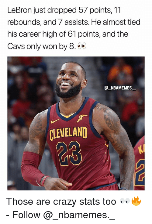 Cavs, Crazy, and Memes: LeBron just dropped 57 points, 11  rebounds, and 7 assists. He almost tiec  his career high of 61 points, and the  Cavs only won by 8.  E NBAMEMES.  CLEVELAND  23 Those are crazy stats too 👀🔥 - Follow @_nbamemes._