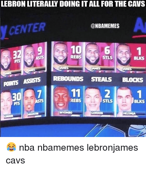 Basketball, Cavs, and Nba: LEBRON LITERALLY DOING IT ALL FOR THE CAVS  Ar  @NBAMEMES  CENTER  10 a6  REBS  BLKS  STEALS BLOCKS  POINTS ASSISTS REBOUNDS  30  73 112  REBS  STLS  BLKS 😂 nba nbamemes lebronjames cavs