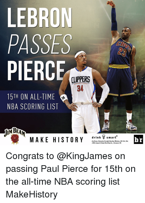 NBA: LEBRON  PASSES  PIERC  LIPPERS  15TH ON ALL-TIME  NBA SCORING LIST  drink smart  MAKE HISTORY  Jim Beams Kentucky Straight B  ben Whiskey, 40% A  2016 James B. Beam Distilling Co., Clermont, KY.  br Congrats to @KingJames on passing Paul Pierce for 15th on the all-time NBA scoring list MakeHistory