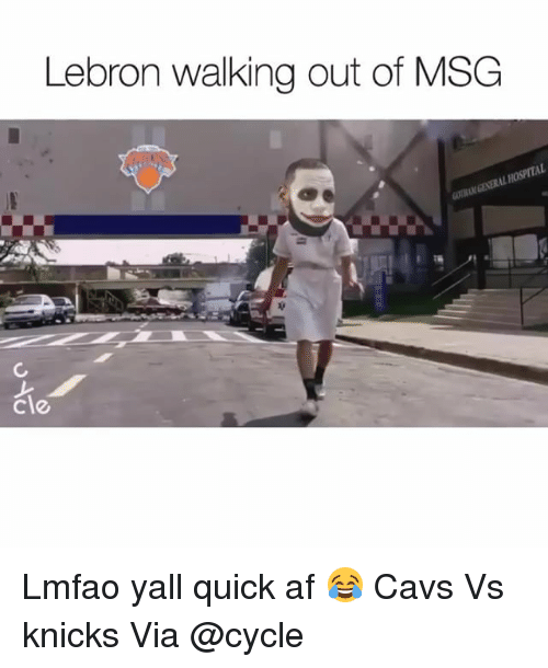 Af, Cavs, and Funny: Lebron walking out of MSG  cle Lmfao yall quick af 😂 Cavs Vs knicks Via @cycle