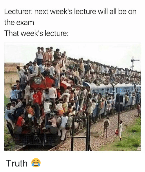 Truth, Next, and Will: Lecturer: next week's lecture will all be on  the exam  That week's lecture: Truth 😂