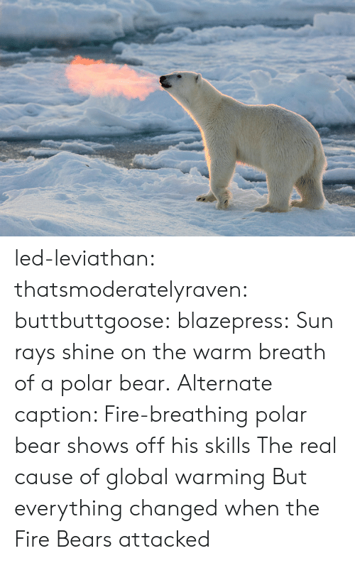 Globalism: led-leviathan:  thatsmoderatelyraven: buttbuttgoose:  blazepress:  Sun rays shine on the warm breath of a polar bear.  Alternate caption: Fire-breathing polar bear shows off his skills  The real cause of global warming   But everything changed when the Fire Bears attacked