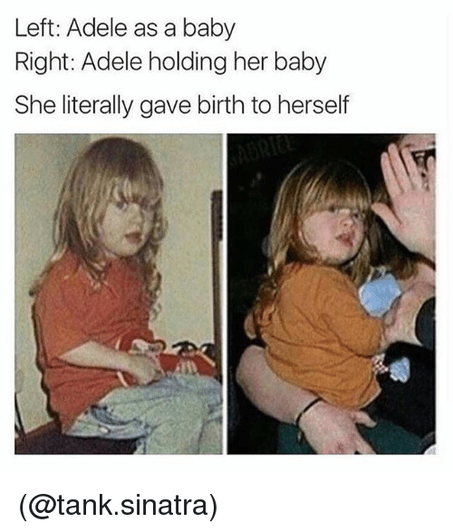 Adele, Dank Memes, and Baby: Left: Adele as a baby  Right: Adele holding her baby  She literally gave birth to herself (@tank.sinatra)