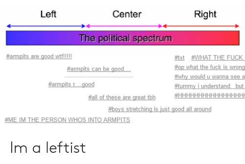 armpits: Left  Center  Right  The political spectrum  #txt WHAT THE FUCK  top what the fuck is wrong  #why would u wanna see a  f#tummy i understand but  #armpits r good  #all of these are great tbh  #boys stretching is just good all around  #ME IM THE PERSON WHOS INTO ARMPİTS Im a leftist