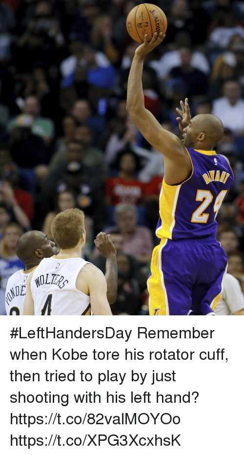 Memes, Kobe, and 🤖: #LeftHandersDay Remember when Kobe tore his rotator cuff, then tried to play by just shooting with his left hand? https://t.co/82valMOYOo https://t.co/XPG3XcxhsK