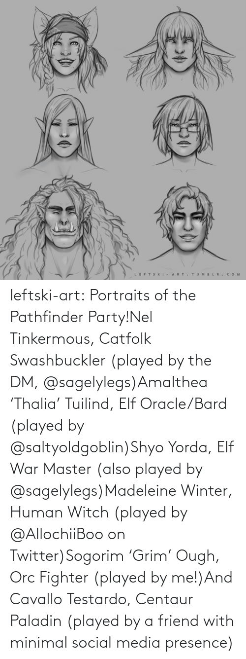 fighter: LEFTS KI - A RT.  TUM B L R . сом  >ф leftski-art:  Portraits of the Pathfinder Party!Nel Tinkermous, Catfolk Swashbuckler (played by the DM, @sagelylegs)Amalthea 'Thalia' Tuilind, Elf Oracle/Bard (played by @saltyoldgoblin)Shyo Yorda, Elf War Master (also played by @sagelylegs)Madeleine Winter, Human Witch (played by @AllochiiBoo on Twitter)Sogorim 'Grim' Ough, Orc Fighter (played by me!)And Cavallo Testardo, Centaur Paladin (played by a friend with minimal social media presence)