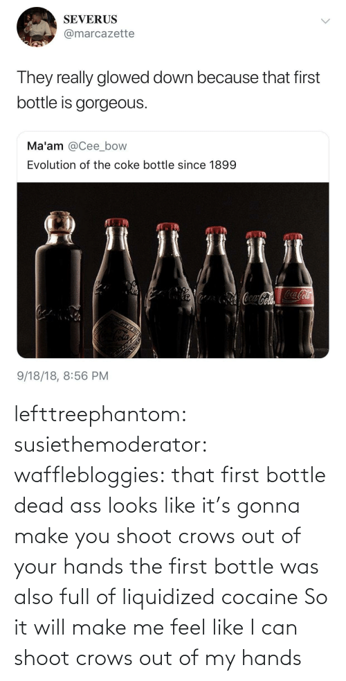 Your Hands: lefttreephantom: susiethemoderator:  wafflebloggies: that first bottle dead ass looks like it's gonna make you shoot crows out of your hands the first bottle was also full of liquidized cocaine   So it will make me feel like I can shoot crows out of my hands
