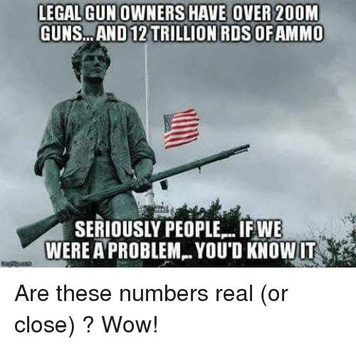 Guns, Memes, and Wow: LEGAL GUN OWNERS HAVE OVER 200M  GUNS.. .AND 12 TRILLION ROS OFAMMO  SERIOUSLY PEOPLE-IFWE  WERE A PROBLEM. YOU'D KNOWUT Are these numbers real (or close) ?   Wow!