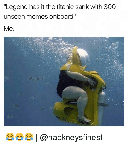 "Funny, Memes, and Titanic: ""Legend has it the titanic sank with 300  unseen memes onboard""  Me 😂😂😂 