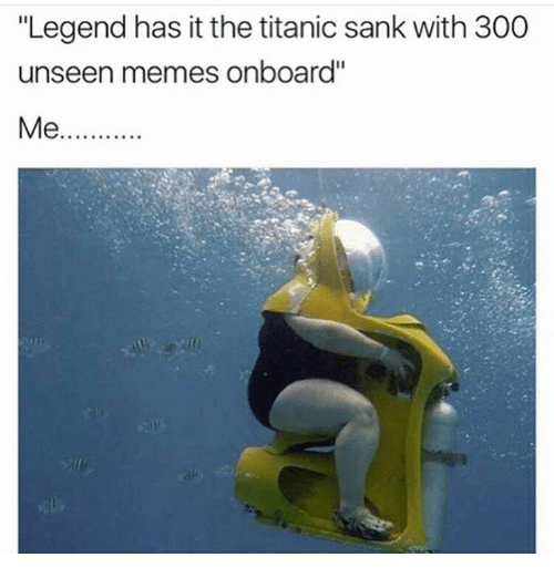 "Memes, Titanic, and 300: ""Legend has it the titanic sank with 300  unseen memes onboard''  Me"