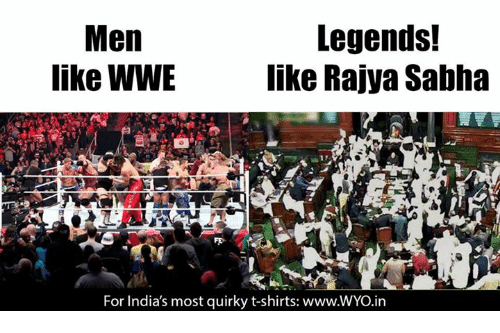 Memes, World Wrestling Entertainment, and 🤖: Legends!  Men  like WWE  like Rajya Sabha  For India's most quirky t-shirts: www.WYo.in