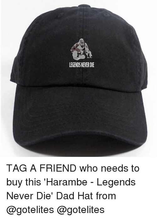 Dad, Friends, and Funny: LEGENDSNEVERDIE TAG A FRIEND who needs to buy this 'Harambe - Legends Never Die' Dad Hat from @gotelites @gotelites