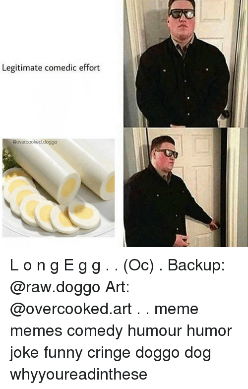 Funny, Meme, and Memes: Legitimate comedic effort  @over cooked.doggo L o n g E g g . . (Oc) . Backup: @raw.doggo Art: @overcooked.art . . meme memes comedy humour humor joke funny cringe doggo dog whyyoureadinthese