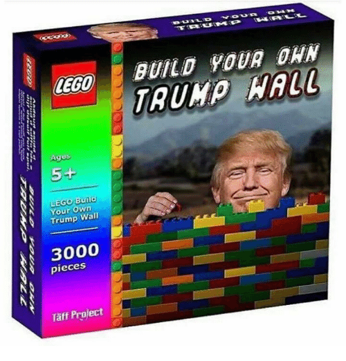 Lego Age: LEGO  Ages  5+  LEGO Bul  N Your Own  Trump Wall  3000  pieces  Taff Project  BUILD YOUR DAN  TRUMP NAIL