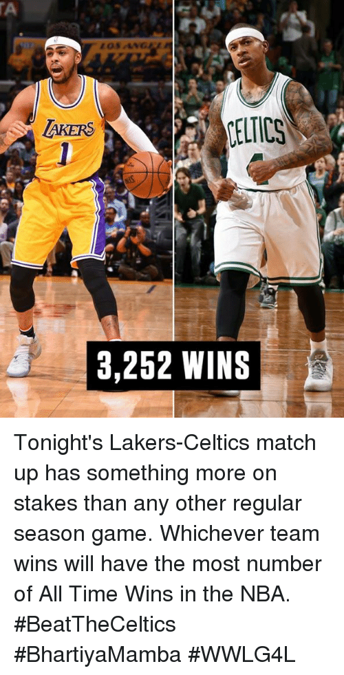 match up: LELTICS  AKERS  3,252 WINS Tonight's Lakers-Celtics match up has something more on stakes than any other regular season game.  Whichever team wins will have the most number of All Time Wins in the NBA.  #BeatTheCeltics #BhartiyaMamba #WWLG4L