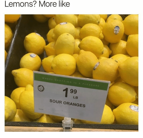 Oranges, More, and Like: Lemons? More like  LB  SOUR ORANGES