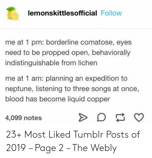 copper: lemonskittlesofficial Follow  me at 1 pm: borderline comatose, eyes  need to be propped open, behaviorally  indistinguishable from lichen  me at 1 am: planning an expedition to  neptune, listening to three songs at once,  blood has become liquid copper  4,099 notes 23+ Most Liked Tumblr Posts of 2019 – Page 2 – The Webly
