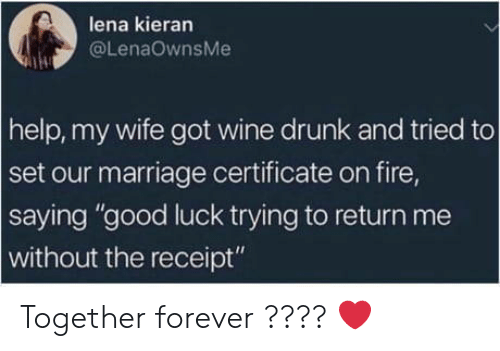 """wine drunk: lena kieran  @LenaOwnsMe  help, my wife got wine drunk and tried to  set our marriage certificate on fire,  saying """"good luck trying to return me  without the receipt"""" Together forever ???? ❤️"""
