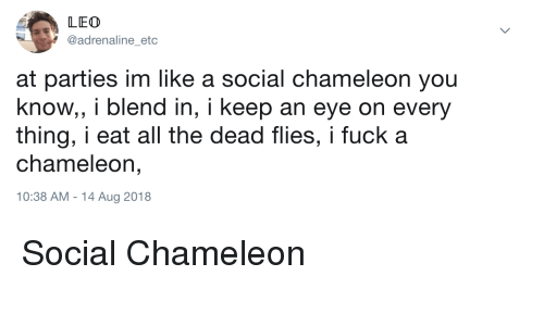 Chameleon: LEO  @adrenaline_etc  at parties im like a social chameleon you  know, i blend in, i keep an eye on every  thing, i eat all the dead flies, i fuck a  chameleon,  10:38 AM - 14 Aug 2018 Social Chameleon