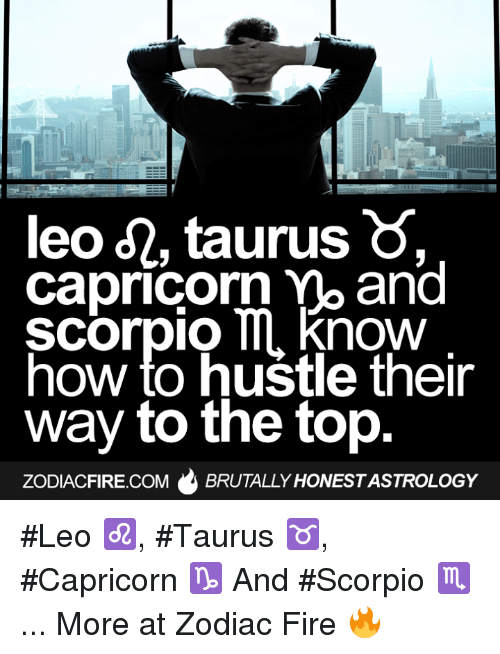 hustle: leo d2, taurus  Capricorn mo and  Scorpio ll now  how to hustle their  way to the top  ZODIACFIRE.COM  BRUTALLY HONESTASTROLOGY #Leo ♌, #Taurus ♉, #Capricorn ♑ And #Scorpio ♏...  More at Zodiac Fire 🔥