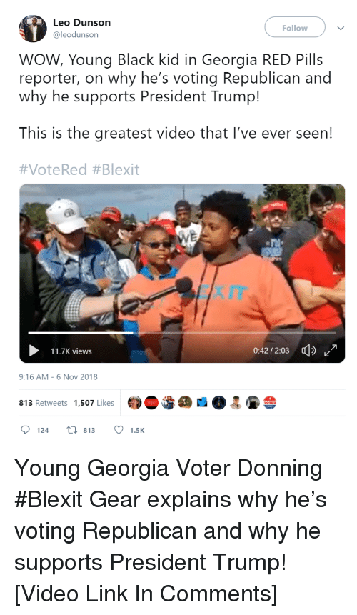 Voting Republican: Leo Dunson  @leodunson  Follow  WOW, Young Black kid in Georgia RED Pills  reporter, on why he's voting Republican and  why he supports President Trump!  This is the greatest video that I've ever seen!  #VoteRed #Blexit  11.7K views  0:42/2:03  9:16 AM-6 Nov 2018  813 Retweets 1,507 Likes  124 t 813 1.5K