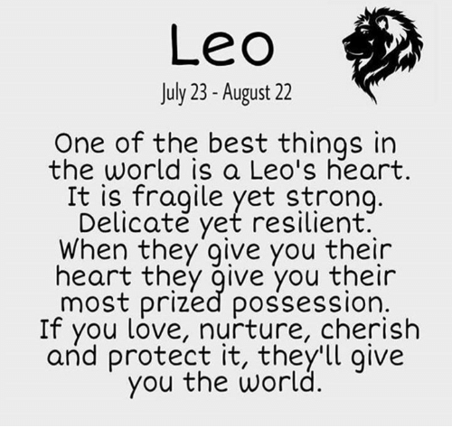 Love, Best, and Heart: Leo  July 23- August 22  One of the best things in  the world is a Leo's heart  It is fragile yet strong.  Delicate yet resilient  When they give you their  heart they give you their  most prized possession.  If you love, nurture, cherish  and protect it, they'll give  you the world.
