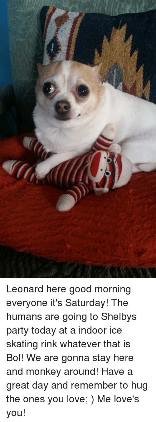 ice skate: Leonard here good morning everyone it's Saturday! The humans are going to Shelbys party today at a indoor ice skating rink whatever that is Bol! We are gonna stay here and monkey around! Have a great day and remember to hug the ones you love; ) Me love's you!