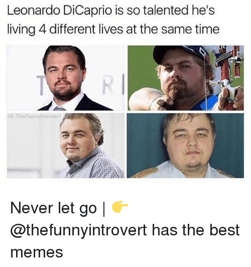Leonardo DiCaprio, Memes, and Best: Leonardo DiCaprio is so talented he's  living 4 different lives at the same time  G: TheFunnyintrovert Never let go | 👉 @thefunnyintrovert has the best memes