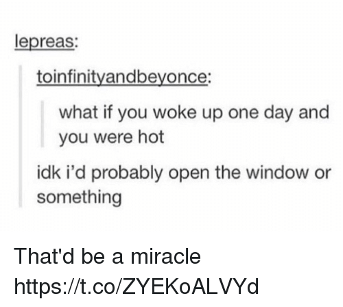 One, One Day, and Open: lepreas:  toinfinityandbeyonce:  what if you woke up one day and  you were hot  idk i'd probably open the window or  something That'd be a miracle https://t.co/ZYEKoALVYd
