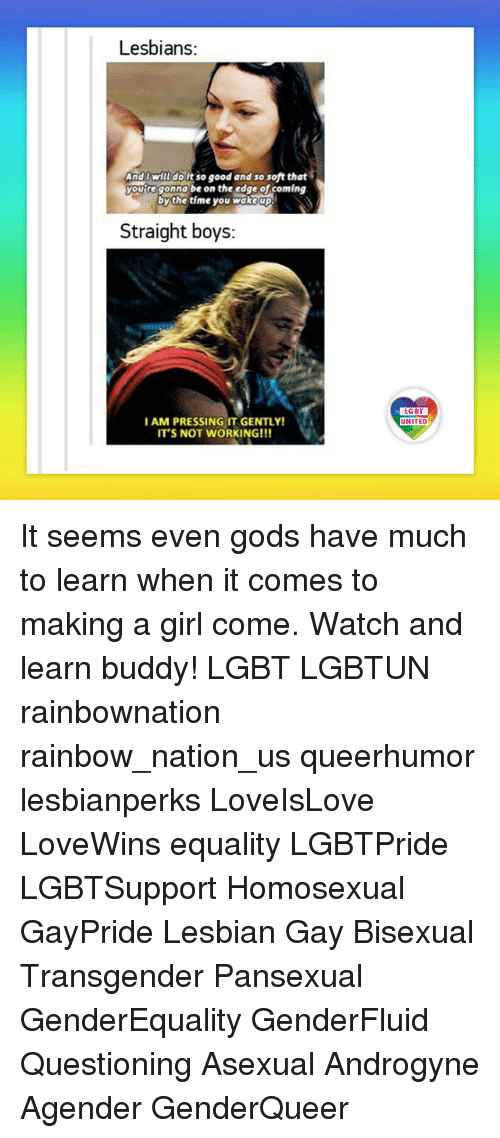 Lesbians, Lgbt, and Memes: Lesbians:  AndIwill doitso good and so soft that  youregonna be on the edge of coming  bythe time you wakeup  Straight boys:  LGBT  UNITED  AM PRESSING IT GENTLY!  IT'S NOT WORKING!!! It seems even gods have much to learn when it comes to making a girl come. Watch and learn buddy! LGBT LGBTUN rainbownation rainbow_nation_us queerhumor lesbianperks LoveIsLove LoveWins equality LGBTPride LGBTSupport Homosexual GayPride Lesbian Gay Bisexual Transgender Pansexual GenderEquality GenderFluid Questioning Asexual Androgyne Agender GenderQueer