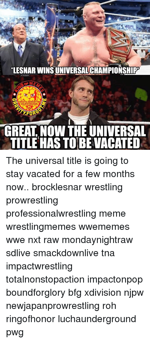 Fords: LESNARWINS UNIVERSAL CHAMPIONSHIP  GRAUITV FORGOT mE  inSTRCRAm  FORD  GREAT NOW THE UNIVERSAL  TITLE HASS TO BE VACATED The universal title is going to stay vacated for a few months now.. brocklesnar wrestling prowrestling professionalwrestling meme wrestlingmemes wwememes wwe nxt raw mondaynightraw sdlive smackdownlive tna impactwrestling totalnonstopaction impactonpop boundforglory bfg xdivision njpw newjapanprowrestling roh ringofhonor luchaunderground pwg