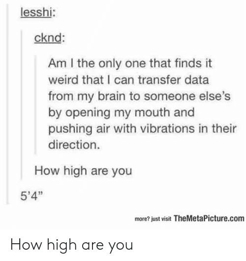 """how high: lesshi:  cknd:  Am I the only one that finds it  weird that I can transfer data  from my brain to someone else  by opening my mouth and  pushing air with vibrations in thei  direction.  How high are you  5'4""""  more? just visit TheMetaPicture.com How high are you"""