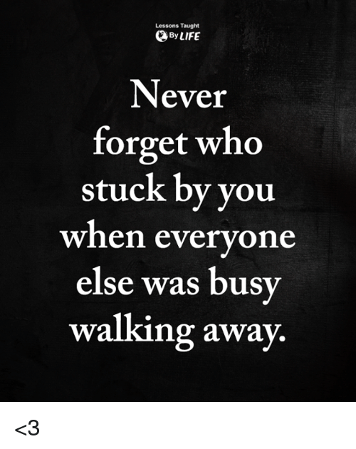 Life, Memes, and Never: Lessons Taught  By LIFE  Never  forget who  stuck by you  when everyone  else was busy  walking away <3