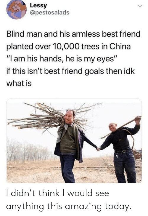 """10 000: Lessy  @pestosalads  Blind man and his armless best friend  planted over 10,000 trees in China  """"I am his hands, he is my eyes""""  if this isn't best friend goals then idk  what is I didn't think I would see anything this amazing today."""