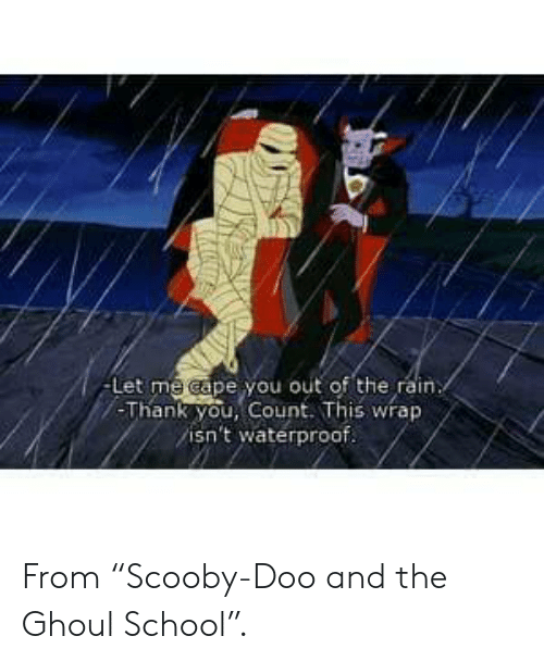 "Scooby Doo: -Let me cape you out of the rain  -Thank you, Count. This wrap  isn't waterproof. From ""Scooby-Doo and the Ghoul School""."