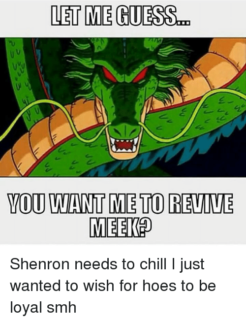 Dank Memes: LET ME GUESS  YOU WANT METOREVIVE  MEEKO Shenron needs to chill I just wanted to wish for hoes to be loyal smh