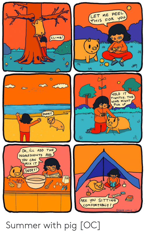Ingredients: LET ME PEEL  THIS FOR you  CLIMB!  HOLD IT  TIGHTLY, THE  WIND MIGHT  PIck UP  SNORT!  Ok, ILL ADD THE  INGREDIENTS AND  You CAN  MIX IT  SNORT  RECIPE  FloOR  (ARE yoU SITTING  COMFORTABLY ?  OGREB COMICS Summer with pig [OC]