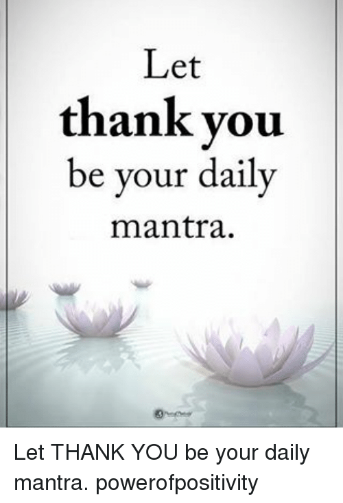 Daili: Let  thank you  be your daily  mantra. Let THANK YOU be your daily mantra. powerofpositivity