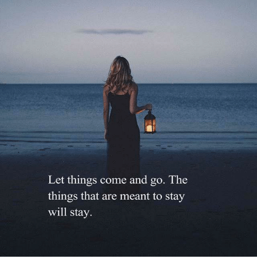 Will, Stay, and  Things: Let things come and go. The  things that are meant to stay  will stay.