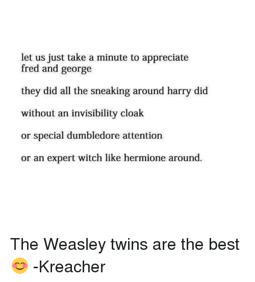 Sneak Around: let us just take a minute to appreciate  fred and george  they did all the sneaking around harry did  without an invisibility cloak  or special dumbledore attention  or an expert witch like hermione around The Weasley twins are the best 😊  -Kreacher