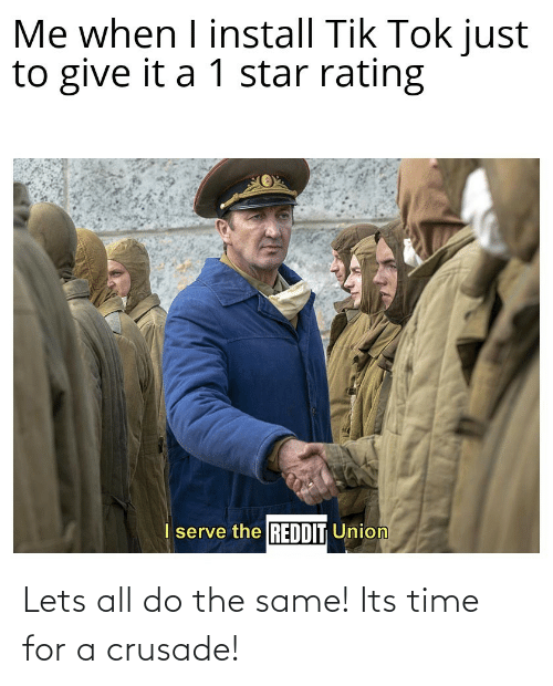 let's: Lets all do the same! Its time for a crusade!